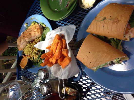 Blue Moose Restaurant & Cafe : Salmon sandwich and Israeli couscous w/salmon