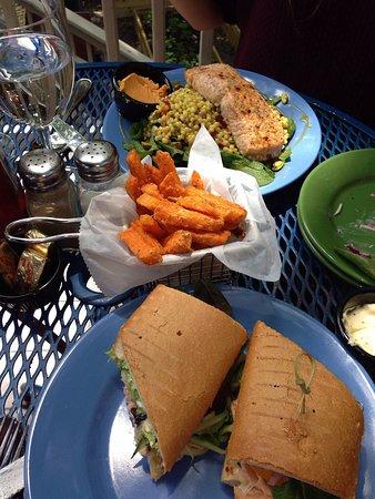 Blue Moose Restaurant & Cafe: Salmon sandwich and Israeli couscous w/salmon