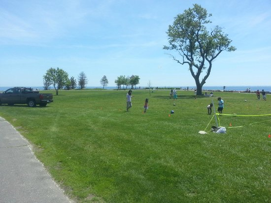 Sherwood Island State Park: Grassy park area, with view of the Sound to the southeast