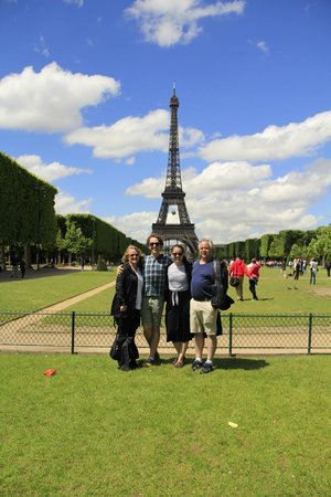 Wego Walking Tours: Carroll family at the Eiffel Tower - last stop on our Wego tour