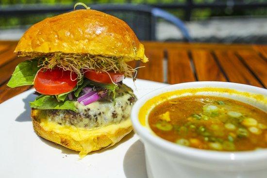 Terra Cafe: Garden Burger w/ Curried FIsh Soup