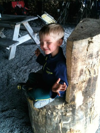 Portage Valley Cabins and RV Park: My son enjoying a smore in the common area