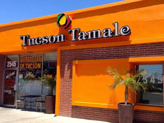 Tucson Tamale Company: Hard to miss the bright colored wall