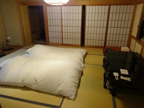 Tobira Onsen Myojinkan: les lits en futon sur tatamis
