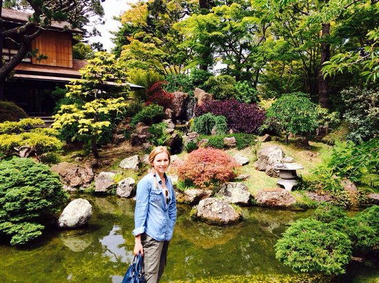 Japanese Tea Garden: With the waterfall behind