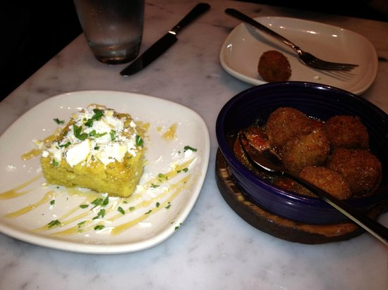 The Purple Pig: feta honey bobota and eggplant parmesan balls