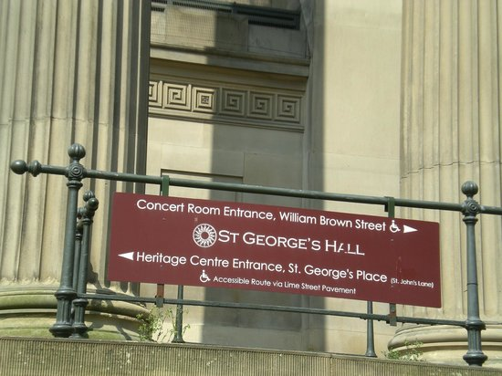 St. George's Hall: Sign for the St. George Hall