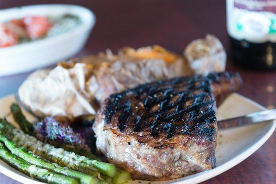 Brick House Grill: Ribeye, asparagus, sweet potato