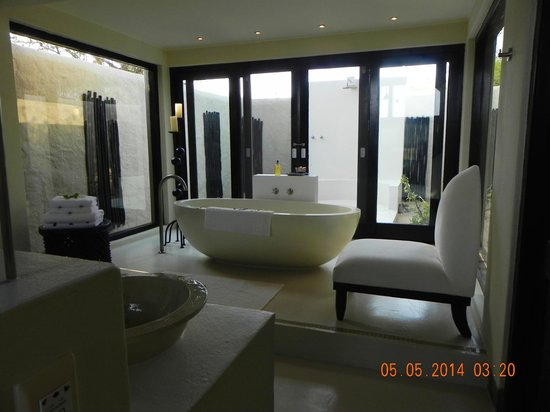 Lion Sands Ivory Lodge : Bathroom with indoor and outdoor shower