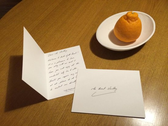 Park Hyatt Seoul: Welcome letter