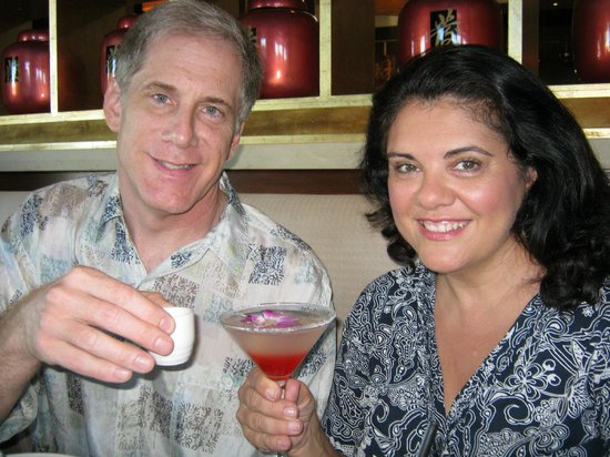 Fat's Asia Bistro - Folsom : Warm Sake and Fat's signature Cosmo with an Orchid