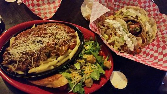 The Buffalo Bar: Buffalo Pasta and Smoked Chicken Tacos.