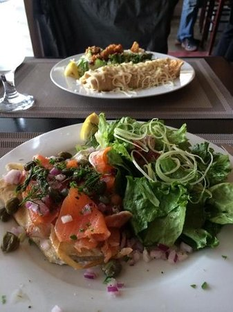 Tess: Salmon Crepe with garden salad & chicken crepe with ceasar salad