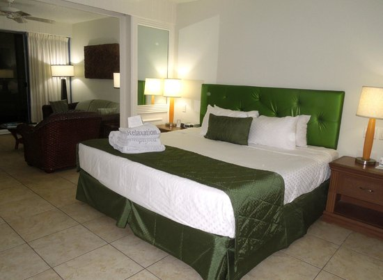 Flamingo Beach Resort: The bed was hard, but we slept well anyway.
