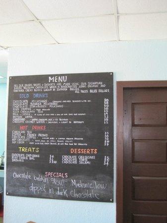 Belize Chocolate Company: menu - note, in Belize $$ - not US