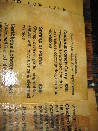 Aji Tapa Bar & Restaurant: menu (Belize $)