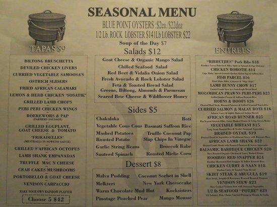 Braai : menu
