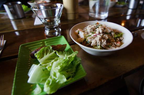 Forktown Food Tours: First Stop: Thai Salad and Sausage! Delicious ;-)