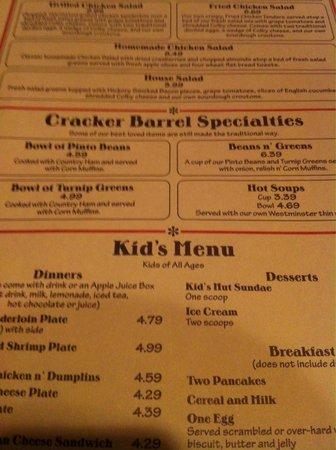 Cracker Barrel: Vielfältiges Menü