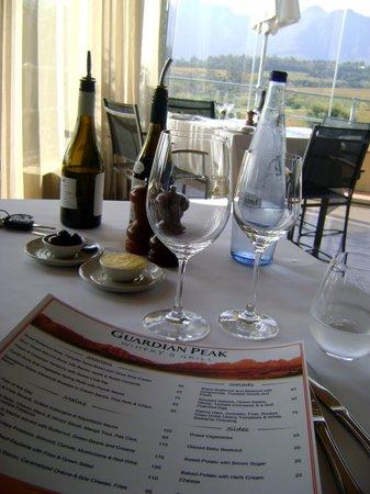 Guardian Peak: Restaurant menu