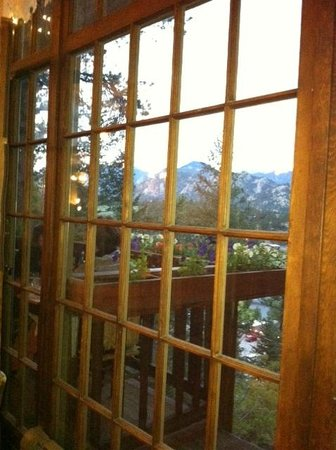 The View Restaurant at the Historic Crags Lodge: Partial picture of the couples balcony table for two