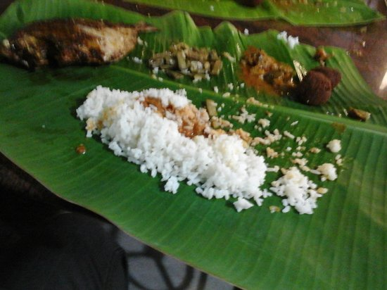 Amma Mess: Rice, Fish Gravy, Fish Fry, Mutton Gola can be seen