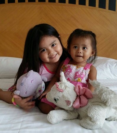 The Linden Suites: My nieces enjoying their comfortable bed