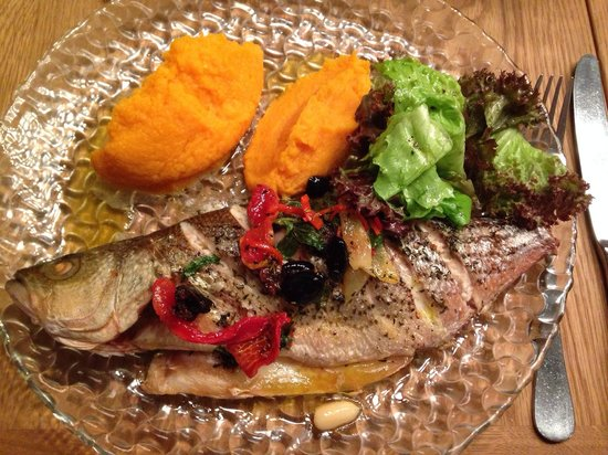 Angelica Fine Grill: a Sea bass. Should have chosen the grilled meat.