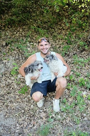 Truffle Hunting at Les Pastras : Jean-Marc with the truffle dogs.