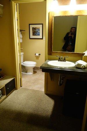 Yosemite Valley Lodge: large clean bathroom with separate dressing area, wardrobe, fridge/freezer etc