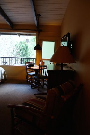 Yosemite Valley Lodge: room was HUGE! clean, nicely furnished, bit dark til turned on all lamps, lot of noise from neig