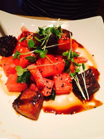 Celadon: Pork belly with water melon entree dish