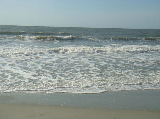 beautiful day at the beach in front of  Sea Crest Oceanfront Resort.