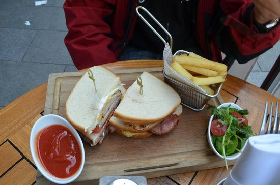 Scoff & Banter Leicester Square : Club Sandwich with fries/chips and salad