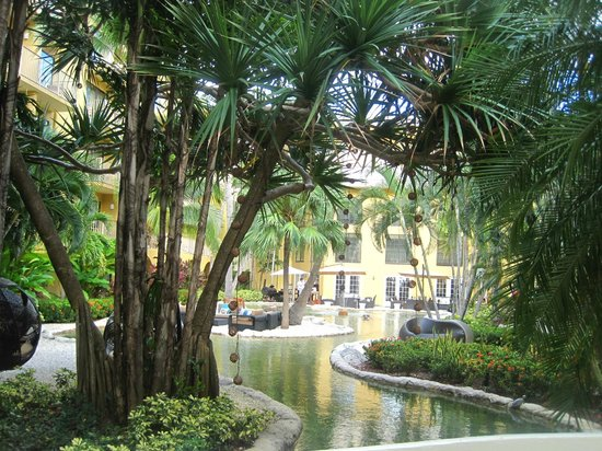 Grand Cayman Marriott Beach Resort: courtyard with fountains & turtles