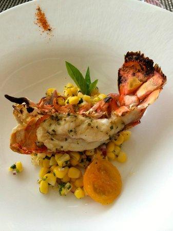 Azure Restaurant: Roasted Kona Lobster – Anchovy & marrow butter, citrus corn salad, Thai basil