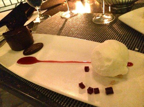 "Azure Restaurant: Maracaibo ""Grand Cru"" Chocolate – Fior di Latte gelato, ruby port gelee, macron almond"