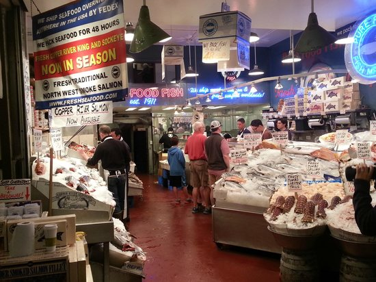 "Visit the Pike Place Market to see the ""tossing of the fish"""