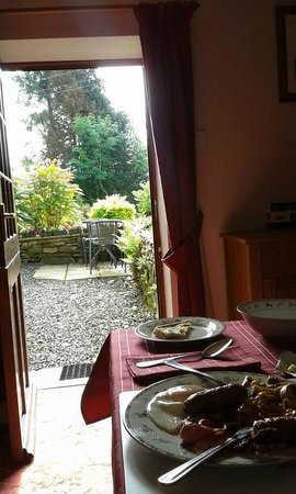 Plas Bwlch: View from the breakfast room (with my full English on the table!)