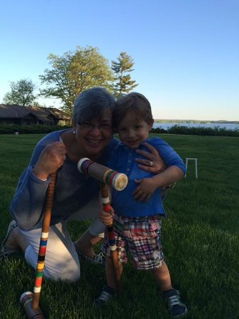 Stout's Island Lodge : On the Crochet lawn with our grandson Andrew.