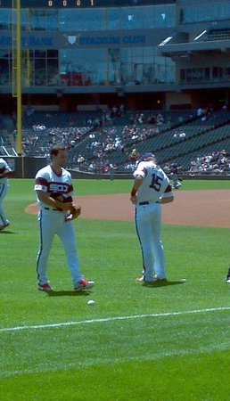 US Cellular Field: Gillaspie and Beckham warming up
