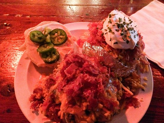 Yo-Mama's Bar and Grill : Peanut Butter Bacon Burger & Loaded Baked Potato!