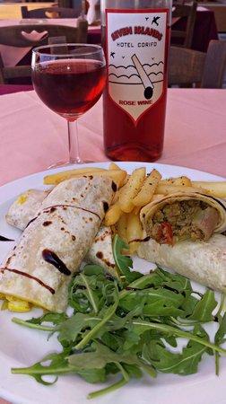 Corifo Village Hotel: Corifo Village house wine & arabic pita