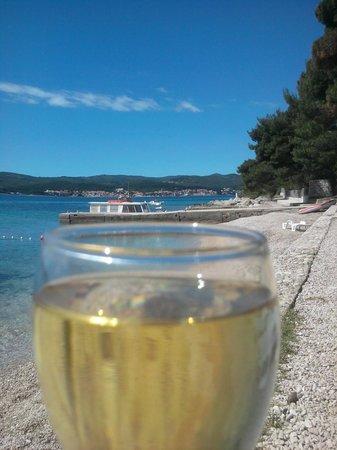 Aminess Grand Azur Hotel : Grand, Orebic, Croatia - hotel's beach and its small pier at backgound
