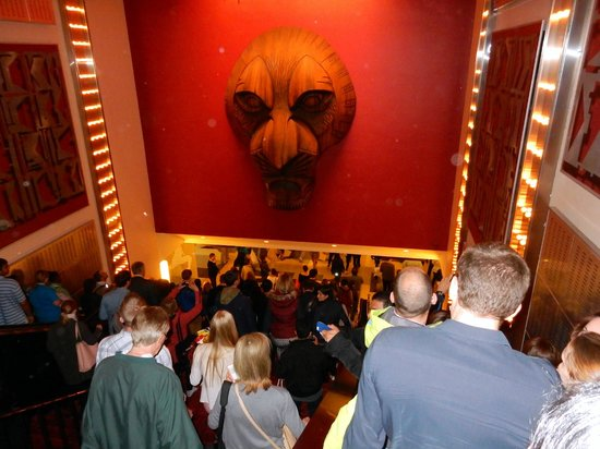 The Lion King : a group of elated visitors post the show ... the excitement was all over