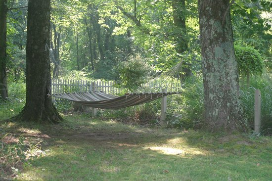 Hocking Hills Resort: Relax in the garden on this comfy hammock.