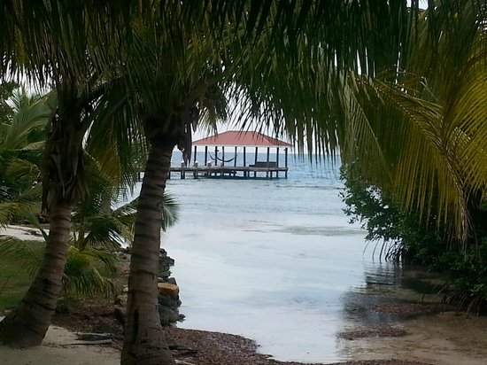 Hatchet Caye Resort: View from dining area of dock