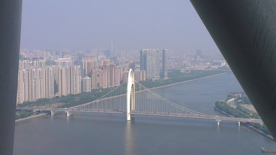 Majestic Liede Bridge across Pearl from the top of Canton Tower