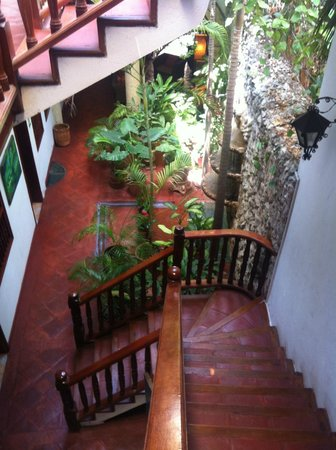 Hotel Casa del Curato: From stairs going down to first floor, waterfall on right.