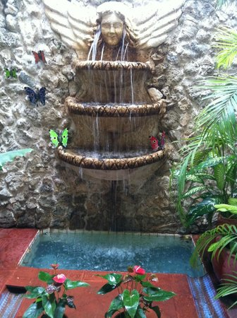 Hotel Casa del Curato : Waterfall in lobby/atrium. Across from some 1st floor rooms
